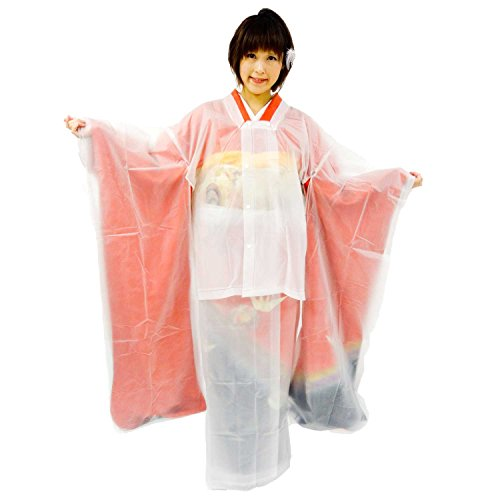 雨 雪 から着物を守る 着物 雨合羽 振袖 着物用 携帯 雨コート 和装 レインコート 二分式 コート 半透明タイプ 振袖タイプ