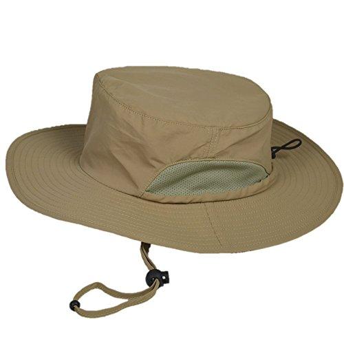 マウンテンハンター UPF50+ 帽子 UV カット 率 99.9%以上 ハット 日除け つば広 サファリハット 折りたたみ ひも付き ユニセックス ベージュ (ベージュ)