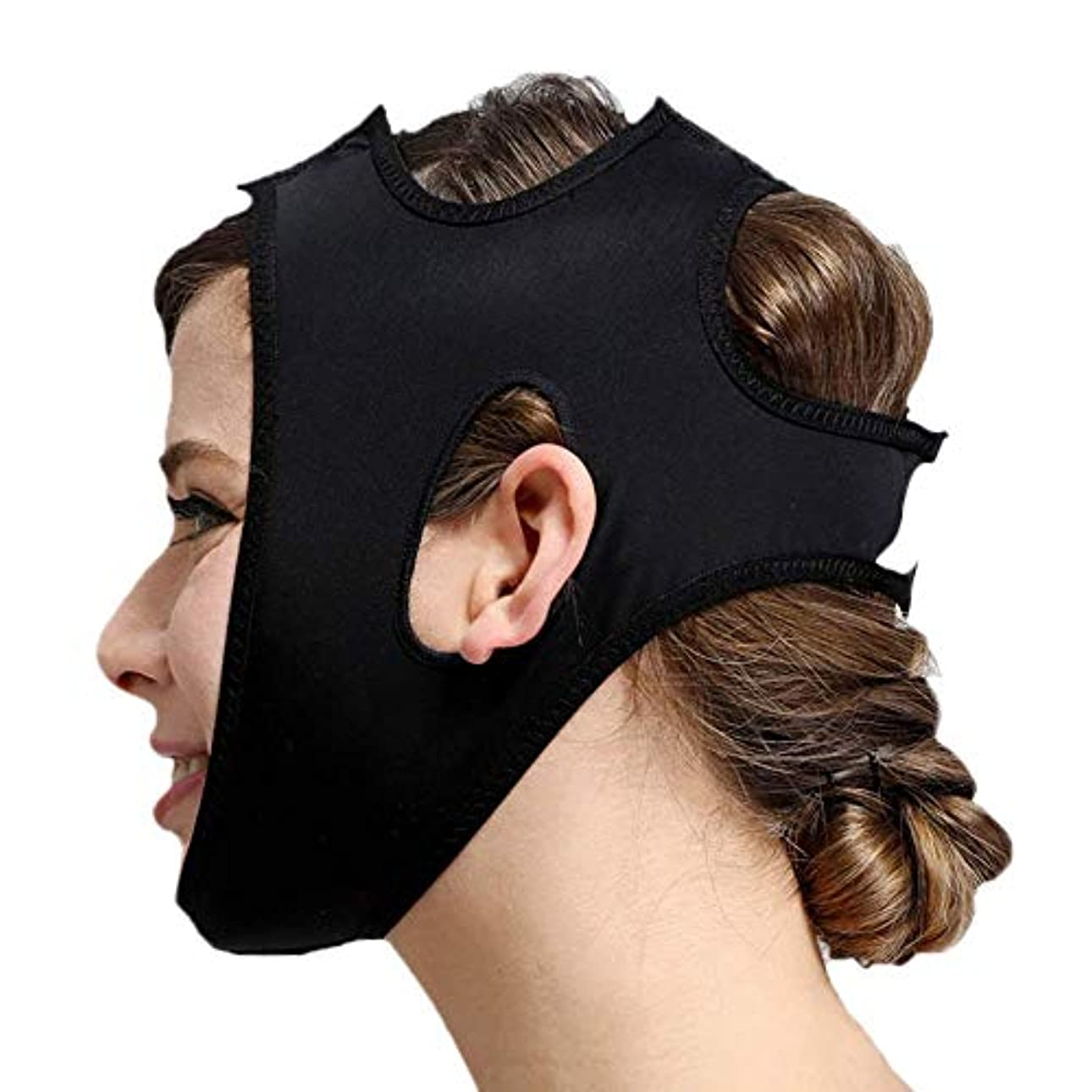 社交的たぶん同級生フェイススリミングマスク、快適さと通気性、フェイシャルリフティング、輪郭の改善された硬さ、ファーミングとリフティングフェイス(カラー:ブラック、サイズ:XL),黒、L