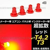 LED T4.2 T3 エアコン メーター スイッチ インジゲーター ポジション 球 超拡散 全面発光 COB タイプ レッド 赤 汎用品 4個 T4.2