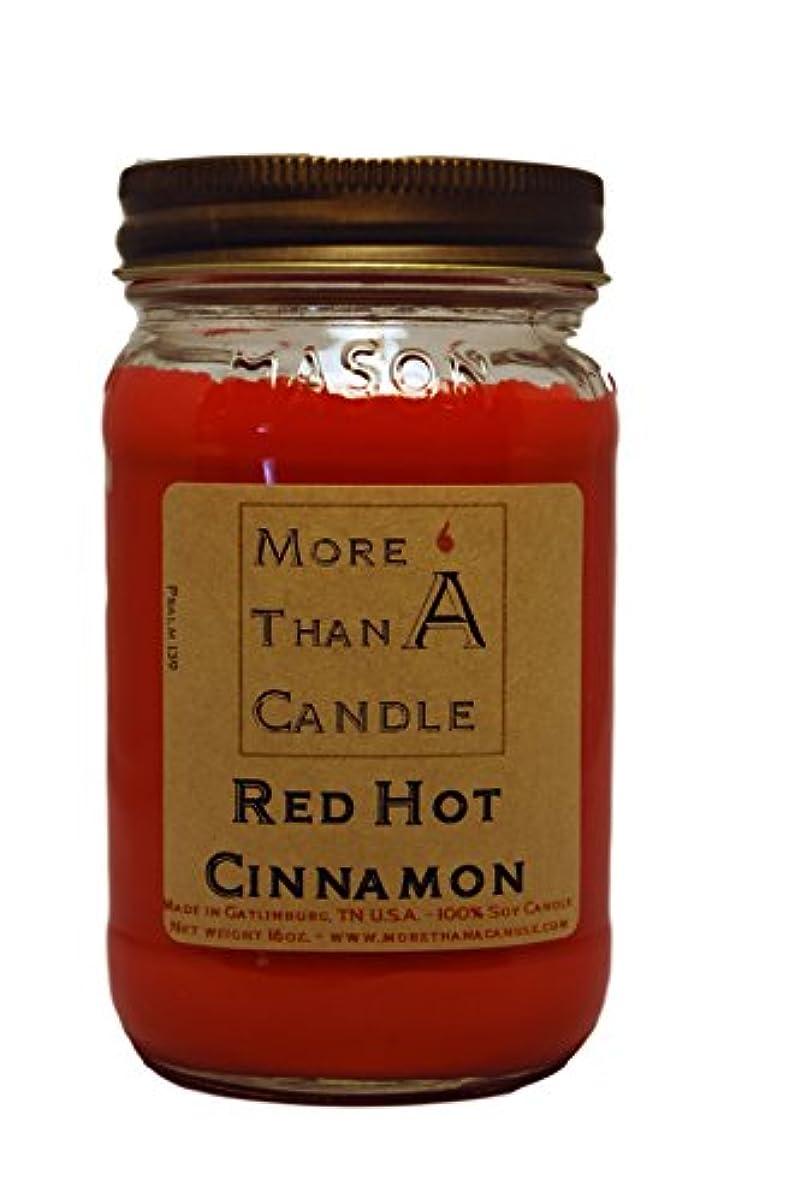 ジャーナル熱心敵対的More Than A Candle RHC16M 16 oz Mason Jar Soy Candle, Red Hot Cinnamon