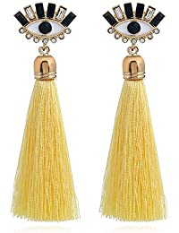 BohoBliss women's Aztec-Eyes yellow tassel drop earrings