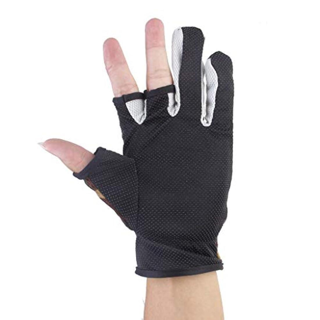ハイランド規制おじいちゃん釣り滑り止め手袋 アンチ?スリップ摩擦パーム 3つの低い裁断された指釣り手袋