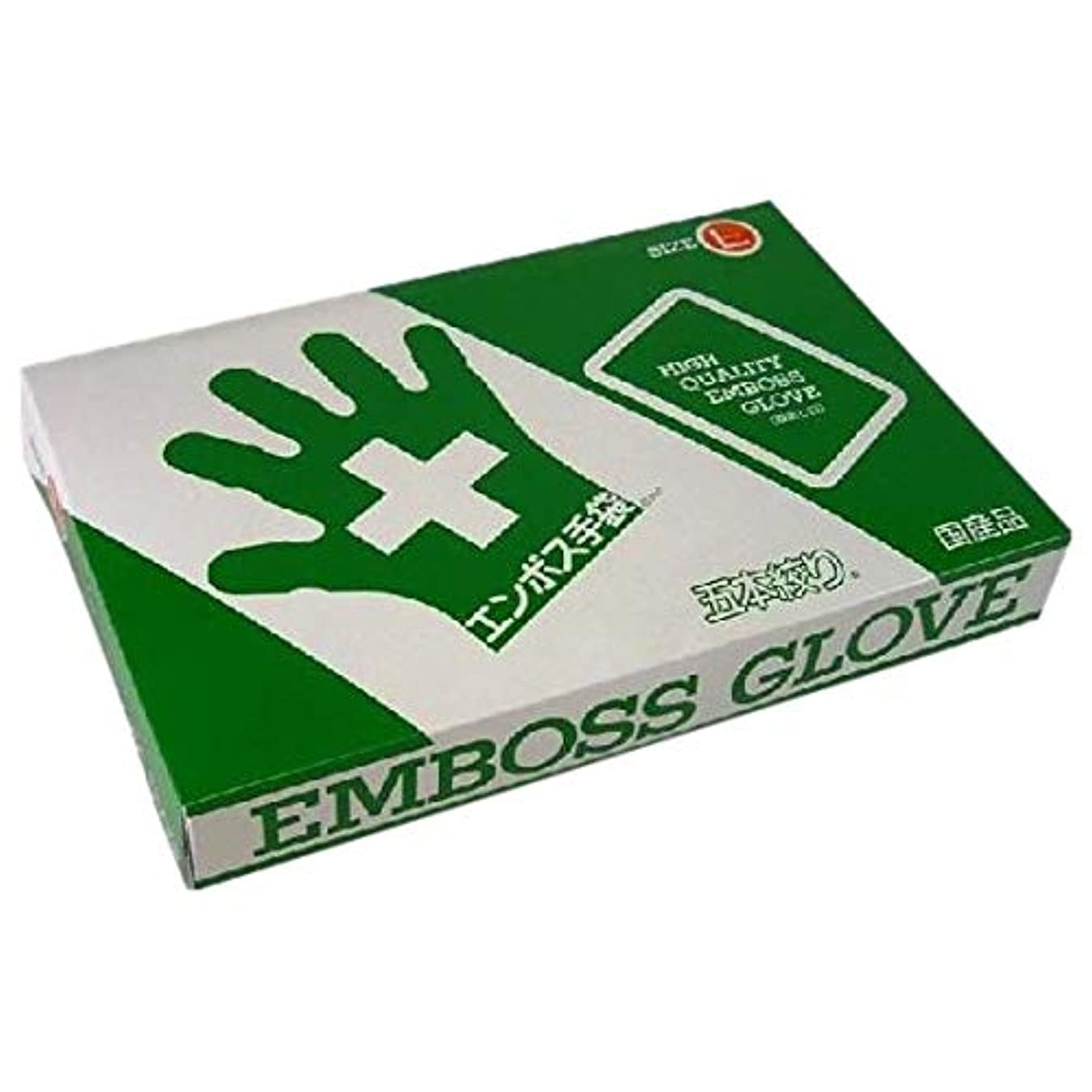 パース純正味方エンボス手袋 5本絞り(使い捨て手袋国産品) 東京パック L 200枚入