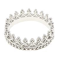 Perfk 全6タイプ エレガント 光沢 王冠デザイン 指輪 ウェディング ブライダル 結婚式 アクセサリー 贈り物 1個 - サイズ9 シルバー
