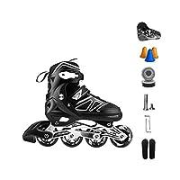 Ailj インラインスケート、 大人用1列スケート プロの男性と女性 調整可能 スケート フルセット フルフラッシュ(黒) (色 : C, サイズ さいず : S (30-33 yards))