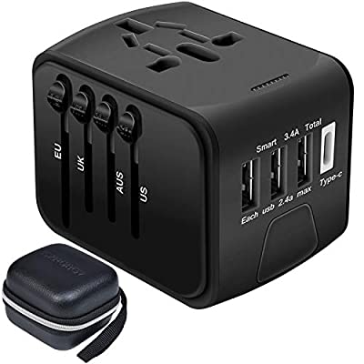 International Travel Adapter,SZROBOY Universal Travel Power Adapter,All in one International USB Travel Adapter with Smart High Speed 2.4A 3xUSB 3.0A 1xType-C with LED Indicator Wall Charger,European Adapter,Worldwide AC Outlet Plugs Adapters for Europe,U
