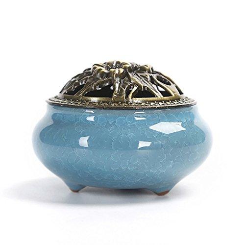 [해외]SUPERMOOM 도자기 향로 원형 향로 아로마 도자기 향꽂이 서있는 아로마 골동품 소용돌이 향 아로마 등 조 선택할 수있는 3 칼라 (사파이어 색 | 하늘색 | 제비꽃 색)/SUPERMOOM Ceramics incense burner round incense furnace aroma ceramic incens...