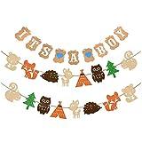Woodland Creatures バナー & It's a Boy バナー 森 動物 友達 パーティー用品 バナー ベビーシャワー パーティー デコレーション 誕生日パーティー 記念品 写真小道具 (2セット アニマルバナー + It's a Boy バナー)