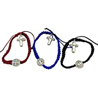 St Benedict Fashion Bracelet Boxed Assortment Red, Blue and Black, Set of 3