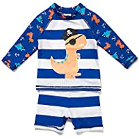 Baby Boy's UPF 50+ Long Sleeve Rash Guard Shirt Come with Shorts (Pack of 2)