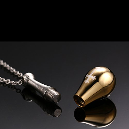[해외]노 브랜드 제품 스테인레스 스틸 펜던트 목걸이 크로스 무늬 향수병 형 (골드)/No brand name stainless steel pendant necklace cross pattern perfume bottle type (gold)