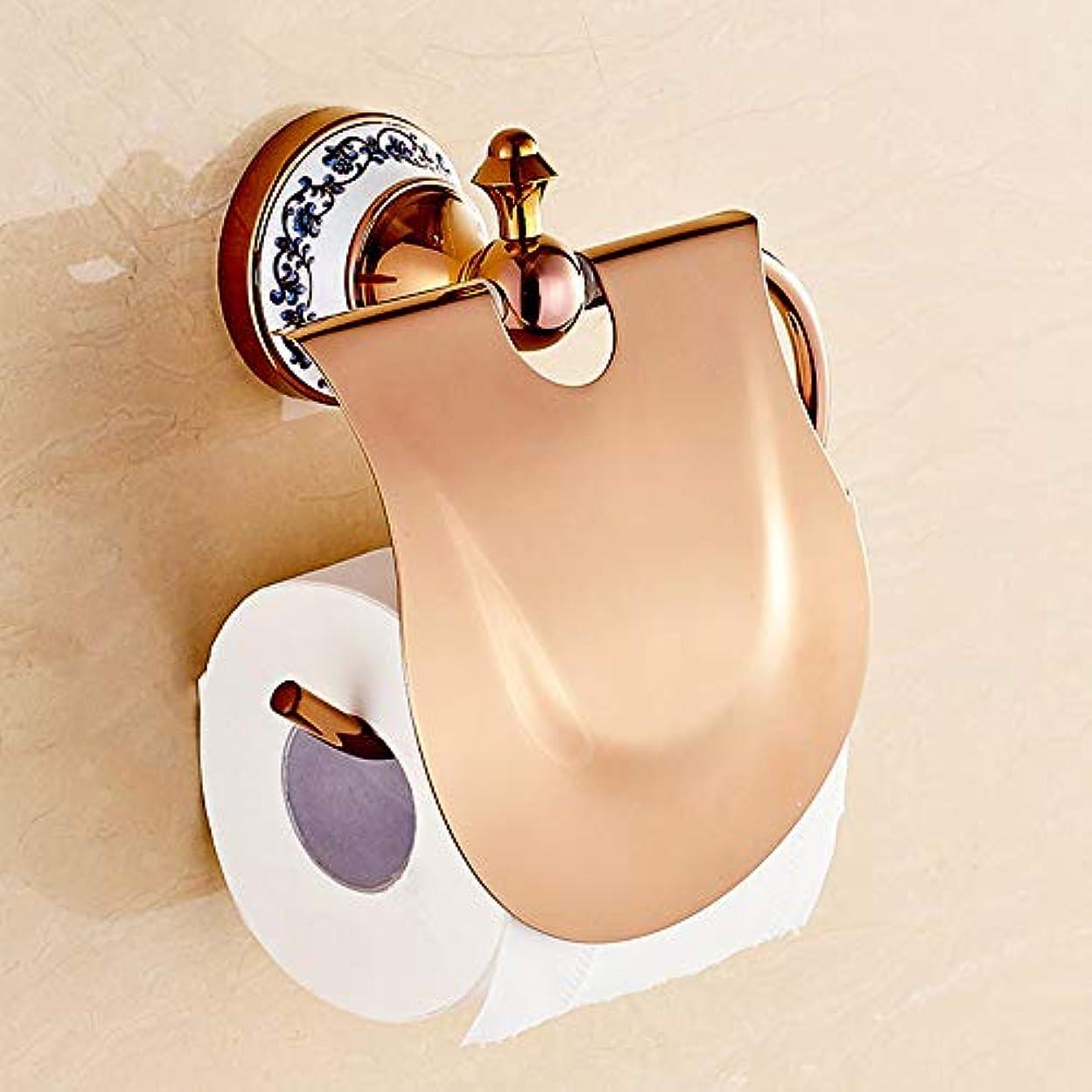 ZZLX 紙タオルホルダー、ヨーロピアンゴールド青と白の磁器浴室トイレットペーパーホルダーバスルームロールトレイ ロングハンドル風呂ブラシ (色 : ローズゴールド ろ゜ずご゜るど)