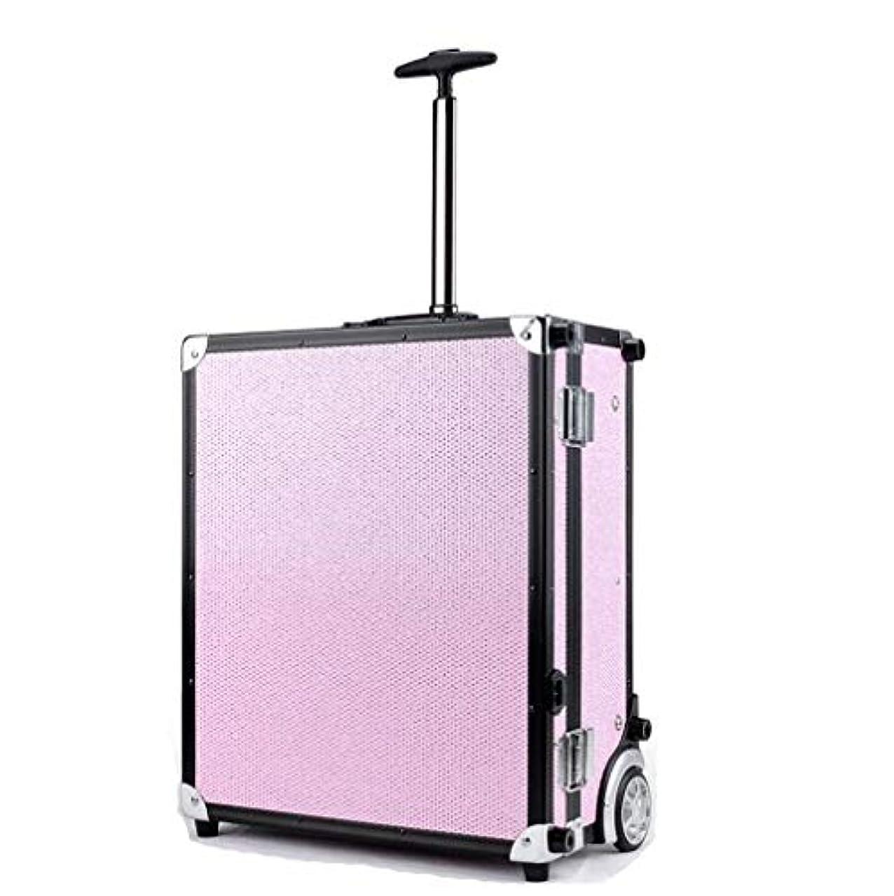 失業者シーサイド木BUMC 化粧トロリーケース、大きい化粧化粧列車、LEDライト付き、ダイヤモンドオーガナイザーボックス収納付きプロフェッショナル多層化粧品ケース