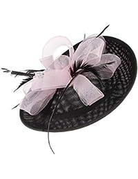 GEMVIE レディース ヘッドドレス メッシュ ヘアクリップ ウェディングハット 髪飾り 結婚式 パーティー カクテルハット 羽根付き 欧米風