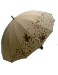 レディース?ウィメンズ 和風 16本骨 花畑プリント ジャンプ傘 (55cm) 273005