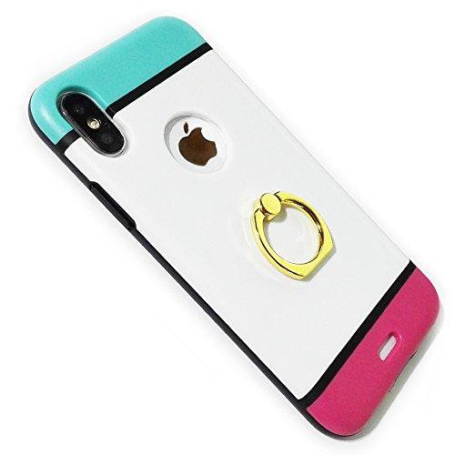 SN Heart iPhone X ケース リング付き 耐衝...