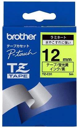 ピータッチ 蛍光カラーテープ 蛍光黄ラベル TZ-C31 [黒文字 12mm×5m]