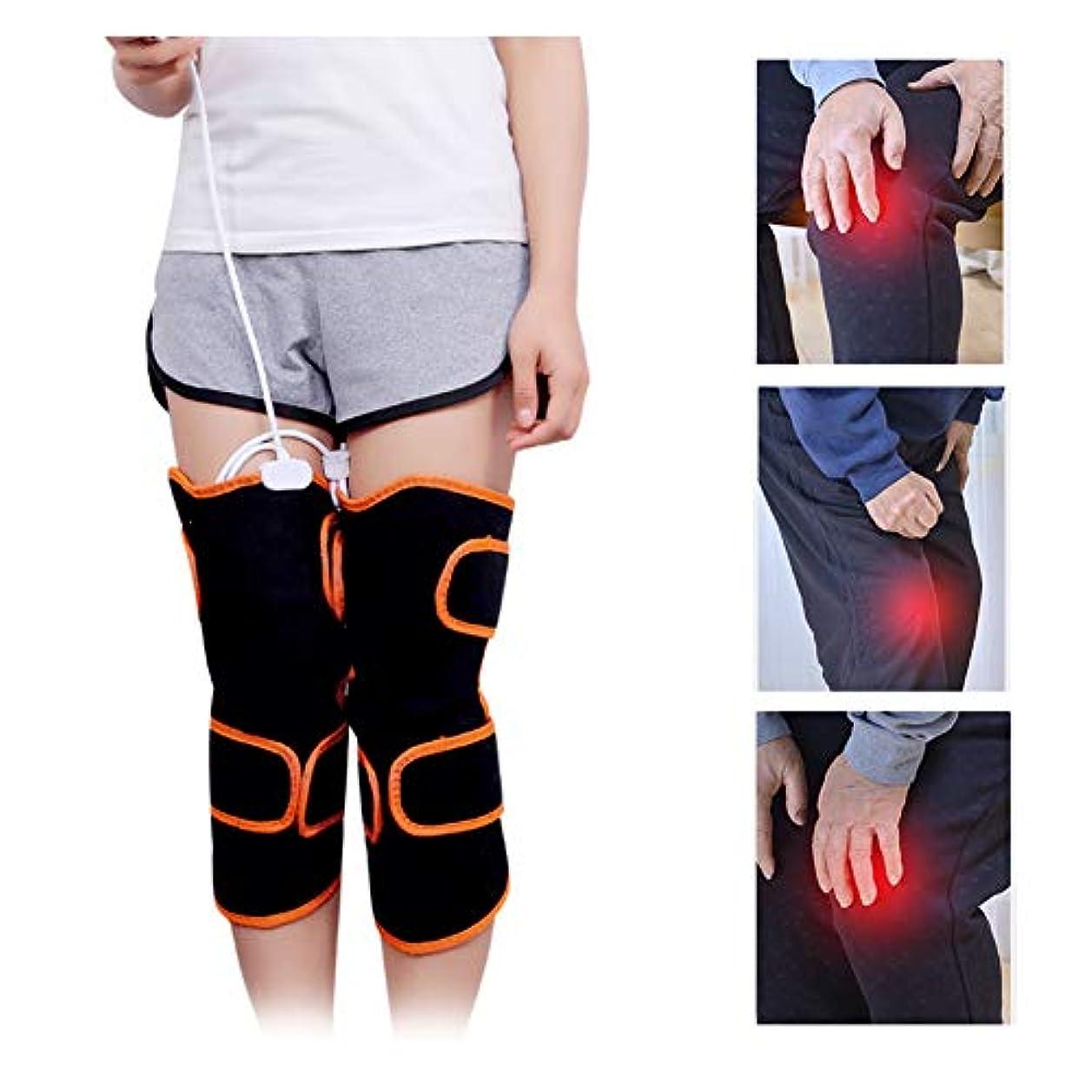 従者開拓者感謝9種類のマッサージモードと5種類の速度の膝温熱パッド付き加熱膝装具-膝の怪我、痛みを軽減するセラピーラップマッサージャー