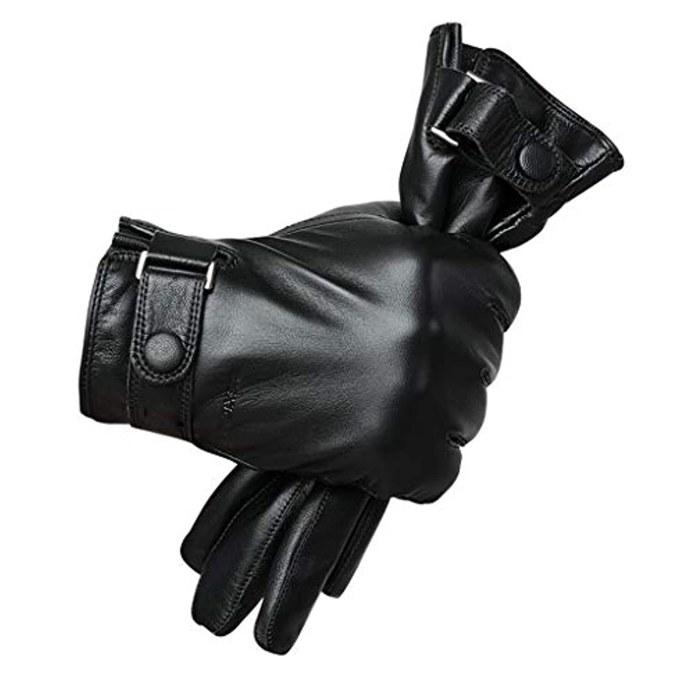 時代遅れポータルいつレザー手袋、男性冬のタッチスクリーンウォームパッド付きオートバイ屋外防風ドライビング(黒)