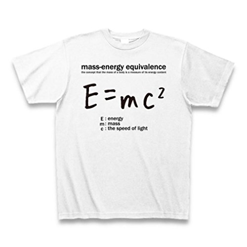 (クラブティー) ClubT 科学Tシャツ:E=mc2(エネルギー、質量、光速の関係式):アインシュタイン・相対性理論:学問・物理学・数学 Tシャツ(ホワイト) M ホワイト