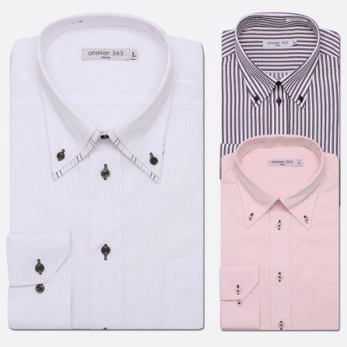 (アトリエサンロクゴ) atelier365 ワイシャツ 長袖Yシャツ3枚セット使い捨て感覚でどうぞ/wakeari-long-ONETYPE-LL-43