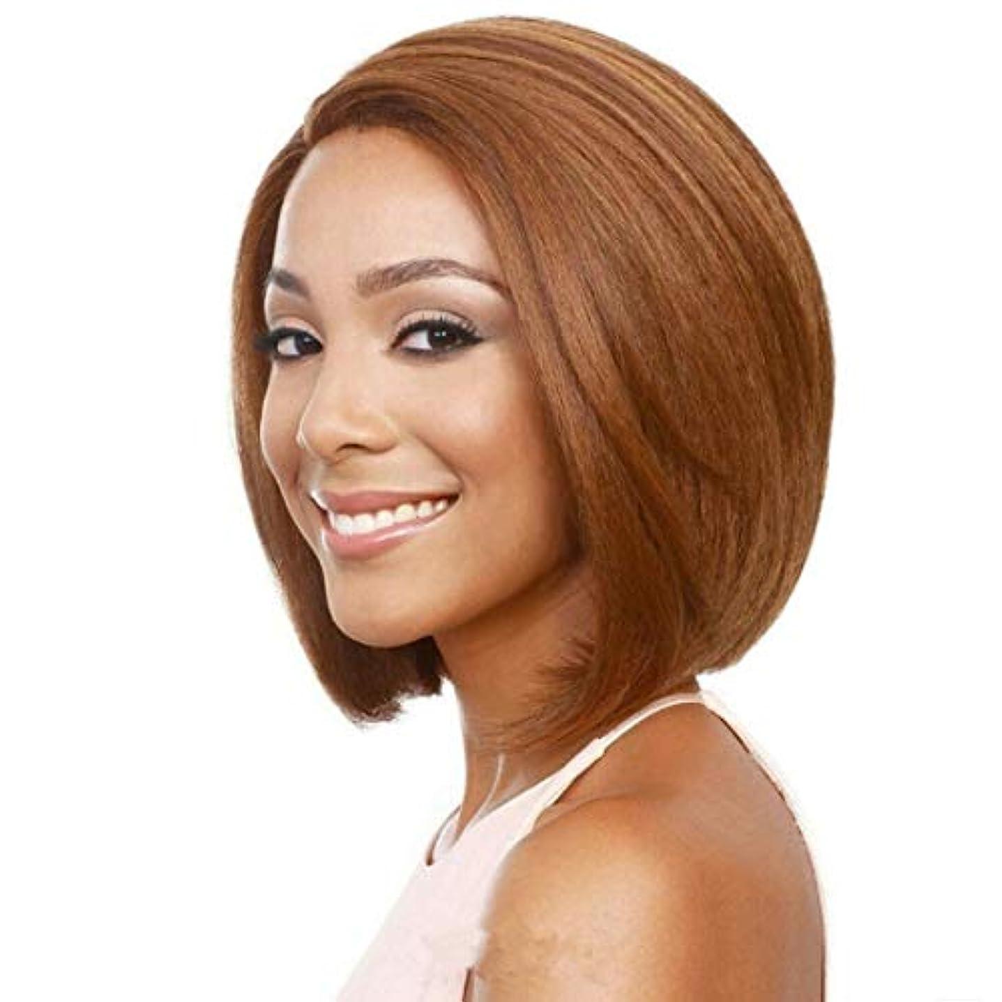 素朴な大騒ぎ文房具Kerwinner 前髪合成耐熱性女性のヘアスタイルと短いふわふわボブ変態ストレートヘアウィッグ (Color : Light Brown)