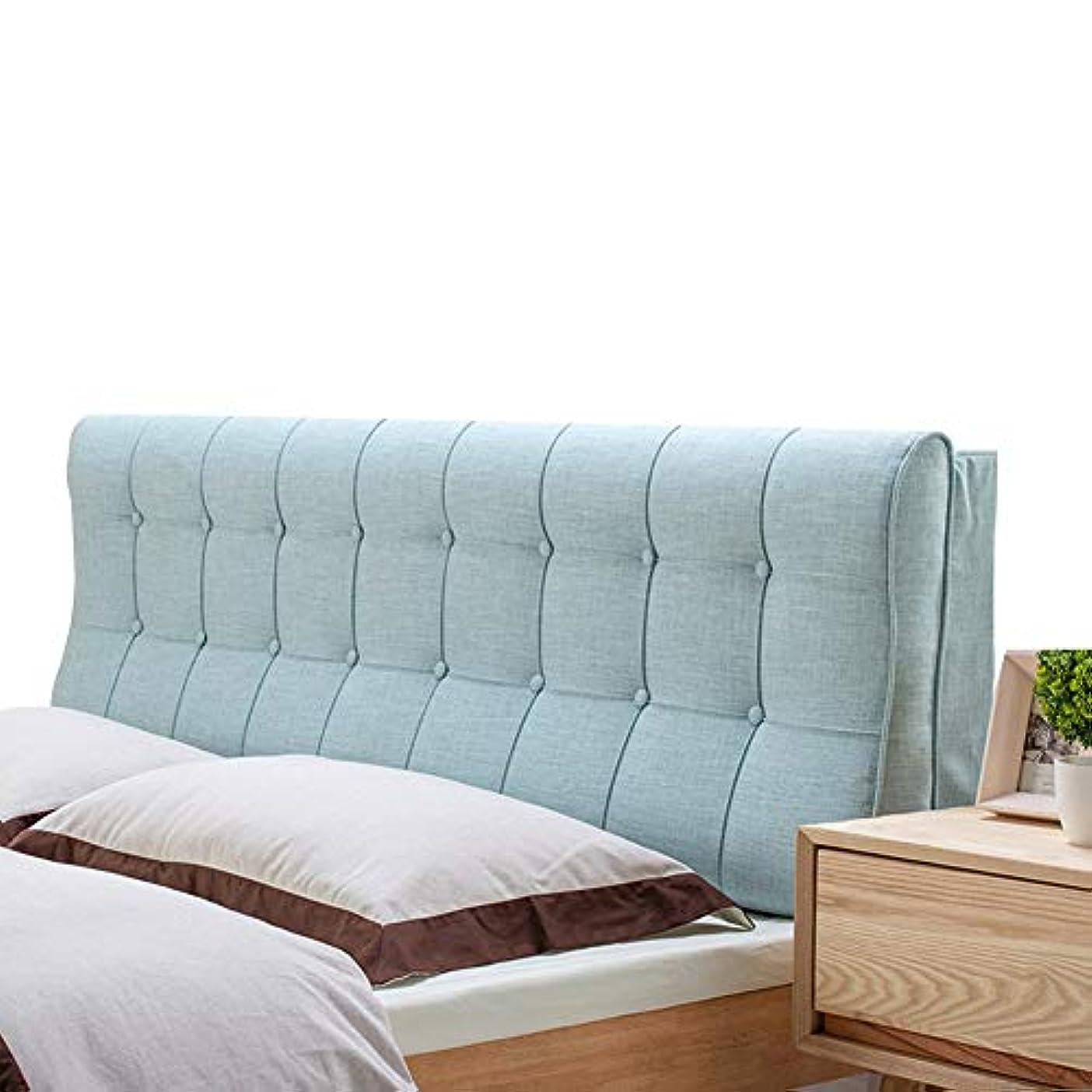 森林本当にバックLIANGLIANG クションベッドの背もたれ腰椎枕 背もたれ読み取りウエストパッド ダブルエクストララージ 湾曲デザイン リネン 洗える スポンジ充填 5色 (色 : 青, サイズ さいず : 180X12X58CM)