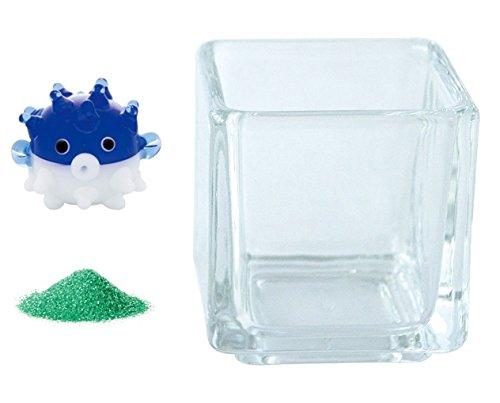 花市場直送便 ミニチュアガラス ハリセンボン ディープブルー & カラーサンド グリーン & 植え込み用グラス ニューブロックS