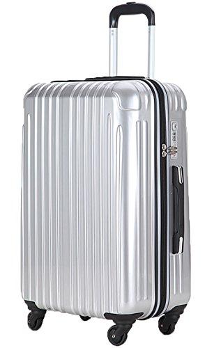 (ラッキーパンダ) Luckypanda スーツケース バッグ アウトレット 超軽量 TSAロック TY001 キャリーバッグ かわいい キャリーケース ファスナー ハード バッグ バック 旅行かばん Suitcase Luggage amazon (M, シルバー)