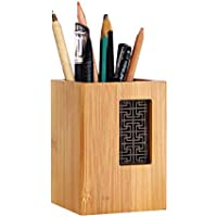 SzBlaze Creative Design Japanese Garden Style Bamboo Wood Desk Pen Pencil Holder Stand for Office School(Style 1)