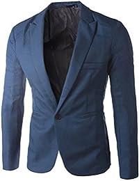 Honeykokoメンズ1つボタンブレザーカジュアルビジネススーツジャケット