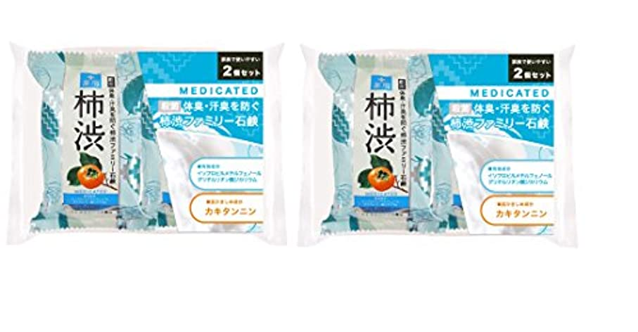 寄生虫踏み台浸食薬用ファミリー 柿渋石けん 2コパック ×2セット