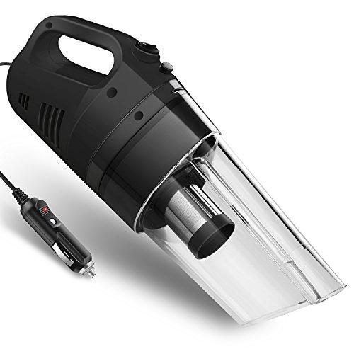 カークリーナー 車用掃除機 サイクロン式 ノズル 延長パイプ付き フィルター交換不要 DC12V 黒/白