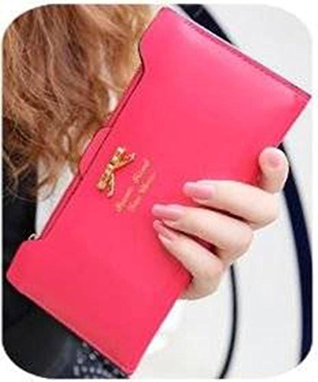 リボン付 長財布 ロングウォレット カードケース (レッド)