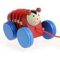 教育玩具、子供baomabao Pullカートon Wheels with Cartoon動物木製教育玩具