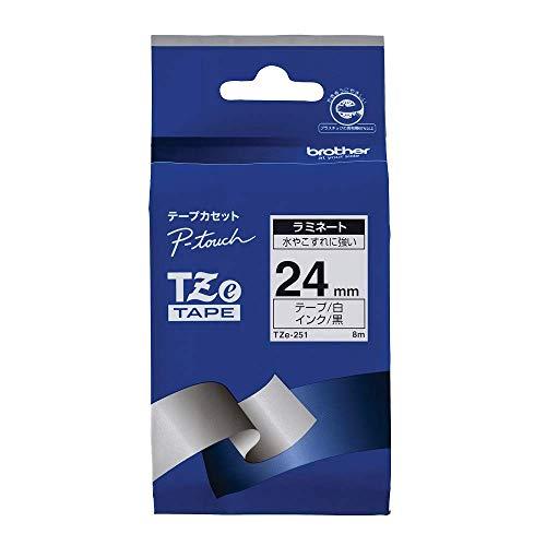 ピータッチ ラミネートテープ 白ラベル TZe-251 [黒文字 24mm×8m]