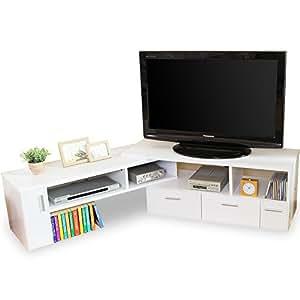 テレビ台 テレビボード 伸縮 角度自由 コーナー ローボード 50インチ対応 木製 109cm~198cm ホワイト
