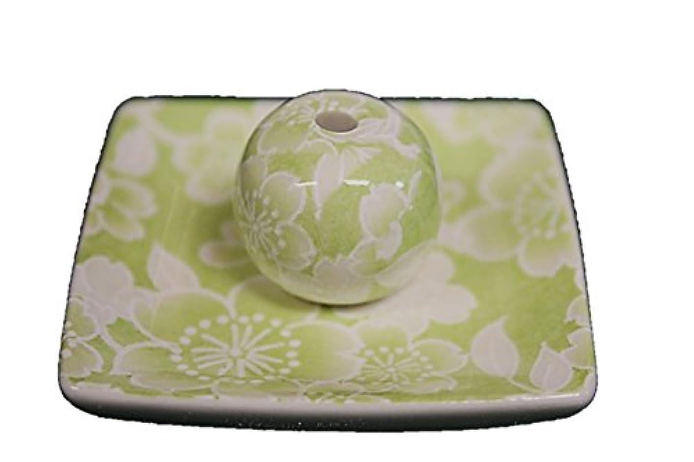 桜友禅 (緑) 小角皿 お香立て 陶器 ACSWEBSHOPオリジナル