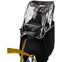 Qimh 自転車レインカバー 子供乗せ自転車 チャイルドシートレインカバー 後ろ 前開ける 撥水加工 後方全開ファスナー付き 雨除け 寒さ対策 風防 雨が染み込む対策 対応身長140CMまで ヘッドレスト一体型のチャイルドシート対応 収納バッグ付