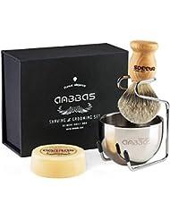 Easy Raku®ひげブラシ シェービングブラシ 純粋なバッガーヘア シェービングブラシ 髭剃り 泡立ち 洗顔ブラシ メンズ (4点セット)