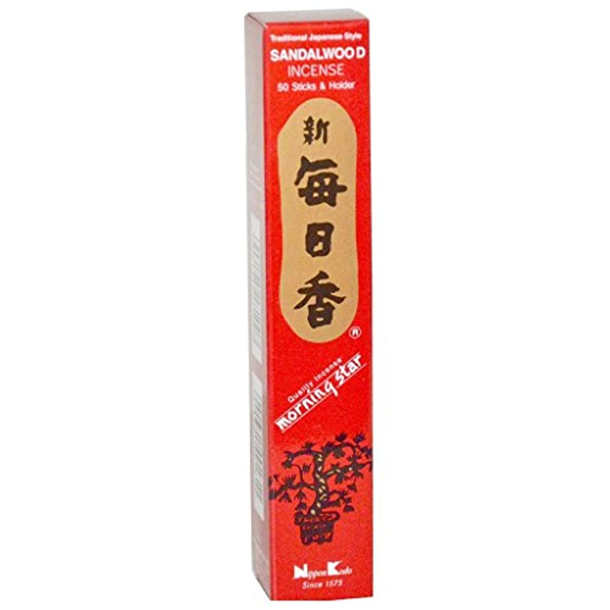 フルート胃ピラミッドSandalwood Morning Star Quality Japanese Incense by Nippon Kodo - 50 Sticks + Holder