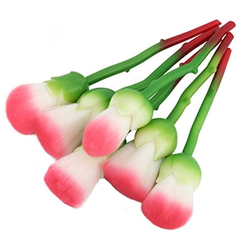 毎月抗議ナインへディラビューティー(Dilla Beauty) メイクブラシ 薔薇 メイクブラシセット 人気 ファンデーションブラシ 化粧筆 可愛い 化粧ブラシ セット パウダーブラシ フェイスブラシ ローズ メイクブラシ 6本セット ケース付き (グリーン)