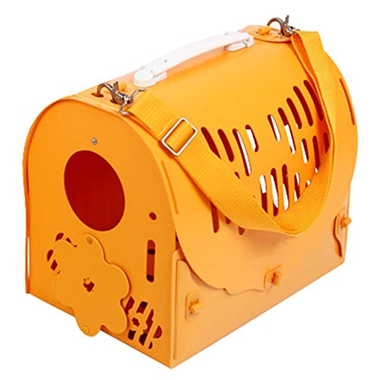 いつか厳召集するペットバックパック 出かける ポータブル グリーン 通気性 ポータブル 片方の肩 猫と犬 特別パッケージ (Color : Yellow, Size : 43x30x35cm)