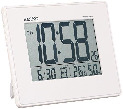 RoomClip商品情報 - セイコー クロック 目覚まし時計 電波 デジタル 掛置兼用 カレンダー 温度 湿度 表示 大型画面 白 パール SQ770W SEIKO