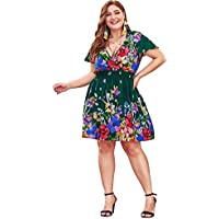 Milumia Plus Size Fit and Flare Wrap V Neck Floral Print Short Sleeves Dress Summer Midi Dress