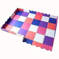 YUEWANG ジョイントマット フロアマット 子供の泡プレイマットベビープレイマット子 フェンス付きプレイマット 柔らかい EVA クロールマット アクティビティセンター プレイルーム、 厚さ14mm、 8スタイル オプショナル (Color : A, Size : 24pcs)