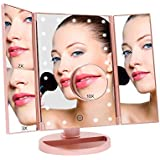 Geecol Tri-Fold Lighted Makeup Vanity Mirror with 21 LED Lights, LED Light Up Cosmetic Mirrors with 1x/2x/3x/10x Magnification SB Power Cable or 4 AA Batteries Powered(Rose gold)