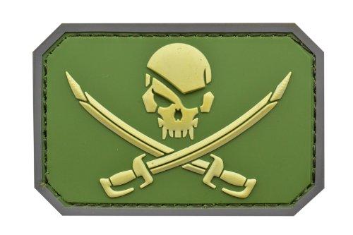 PVC製 NAVY SEALs クロスソードスカル ベルクロ ワッペン パッチ 【下地:緑色 / スカル:黄色】