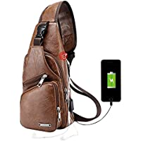 Men's Leather Sling Bag Chest Shoulder Backpack Water Waterproof Crossbody Bag with USB Charging Port for Travel, Hiking,Cycling